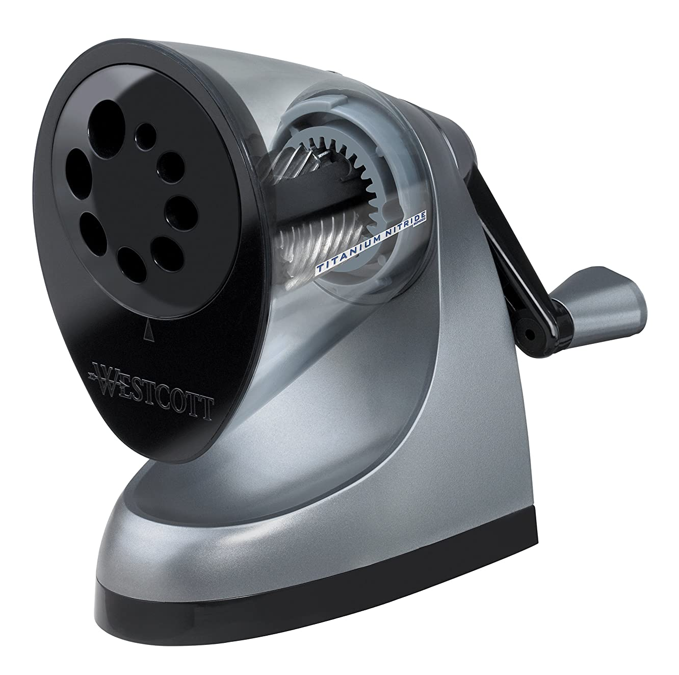 Westcott E-16549 00 iPoint ClassAct Manual Pencil Sharpener with Anti-Microbial Protection - Grey
