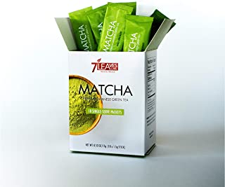 7 Leaves Cafe - Premium Japanese Matcha Green Tea - 10 Single Serve Packets, 1.5g/Packet Unsweetened