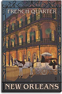 New Orleans, Louisiana - French Quarter at Night (10x15 Wood Wall Sign, Wall Decor Ready to Hang)