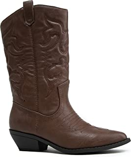 J. Adams Lasso Knee High - Western Cowboy Embroidered Pointed Toe Pull On Boot