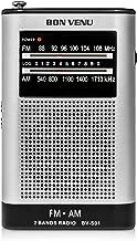 Bon Venu AM FM Pocket Radio Transistor Radio– Portable – Superior Reception, High Clarity & Pleasant Sound – Telescopic FM & Magnetic AM Antenna – Built-in Speaker – Earphones Jack – Minimal Controls