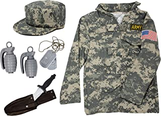 Army Costume for Kids | Soldier Costume for Boys and Girls Dress Up, Small 4-6 Camo