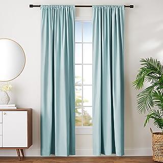 "AmazonBasics Room Darkening Blackout Curtain Set of 2 with Tie Backs - 245 GSM - (8 Feet - Door) 52"" x 96"", Seafoam Green"