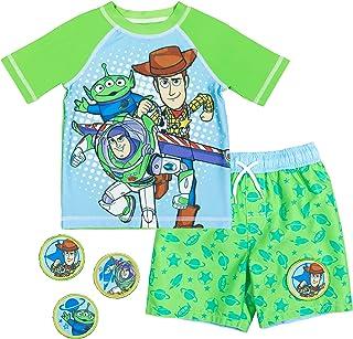 Disney Pixar Toy Story Boys Rash Guard Swim Trunk Set with Removable Patches