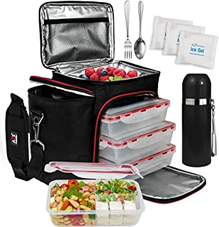 A2S Complete Meal Prep Lunch Box - 8 Pcs Set: Cooler Bag 3x Portion Control Bento Lunch Containers Leakproof 3 Compartment...
