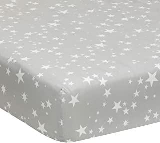 Lambs & Ivy Milky Way Gray/White Stars 100% Cotton Baby Fitted Crib Sheet