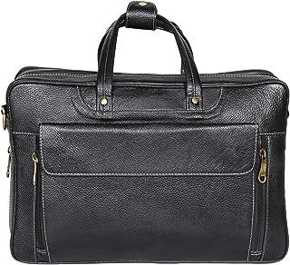 Reo Leather | Laptop Briefcase Bag for Men |15.6'' Laptop Compartment| |Expandable Features| Zipper Lock Closure | 18 Liters | Color (Black)