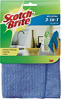 Scotch-Brite Microfiber 3-in-1 Cloth, 11.8 X 11.8 Inch, Color may vary
