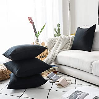 Home Brilliant Halloween Decorations Throw Pillow Covers 18 x 18 inch Set of 4, Lined Linen Square Pillowcases for Couch, Black