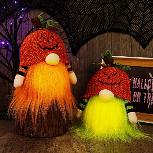 new arrival Twinkle Star 2 Pack Halloween Decorations Lighted Gnomes, Handmade Table Plush Pumpkin Hat Swedish outlet sale Gnome Tomte Light Up Body, Tabletop Elf Figurine Gifts Thanksgiving Festival lowest Ornament outlet sale