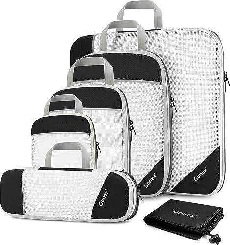 Gonex Organizador para Maletas Viaje Equipaje 6 en 1 Set, Bolsas de Embalaje Almacenaje para Organizar Ropa Zapatos C...