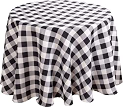 Biscaynebay Printed Checkered Fabric Tablecloths, Water Resistant Spill Proof Tablecloths for Dining, Kitchen, Wedding and Parties (Black/Grey, 70