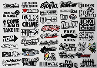 41pcs Car Sticker Pack JDM Accessories Racing Decale for Cars Motorcycle Decals Graphics Sponsor Logo Drift Turbo Valve Slammed Race Drift
