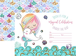 Silly Goose Gifts Magical Celebration Mermaid Narwhal Under The Sea Party Supply (Invite)