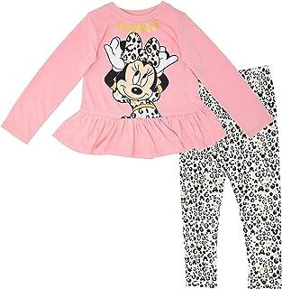 Disney Minnie Mouse Girls Long Sleeve Ruffled T-Shirt and Leggings Set