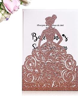 PONATIA 25PCS Lacer Cut Wedding Invitations Card Hollow Bride Invitations Cards for Wedding Bridal Invitation Engagement I...