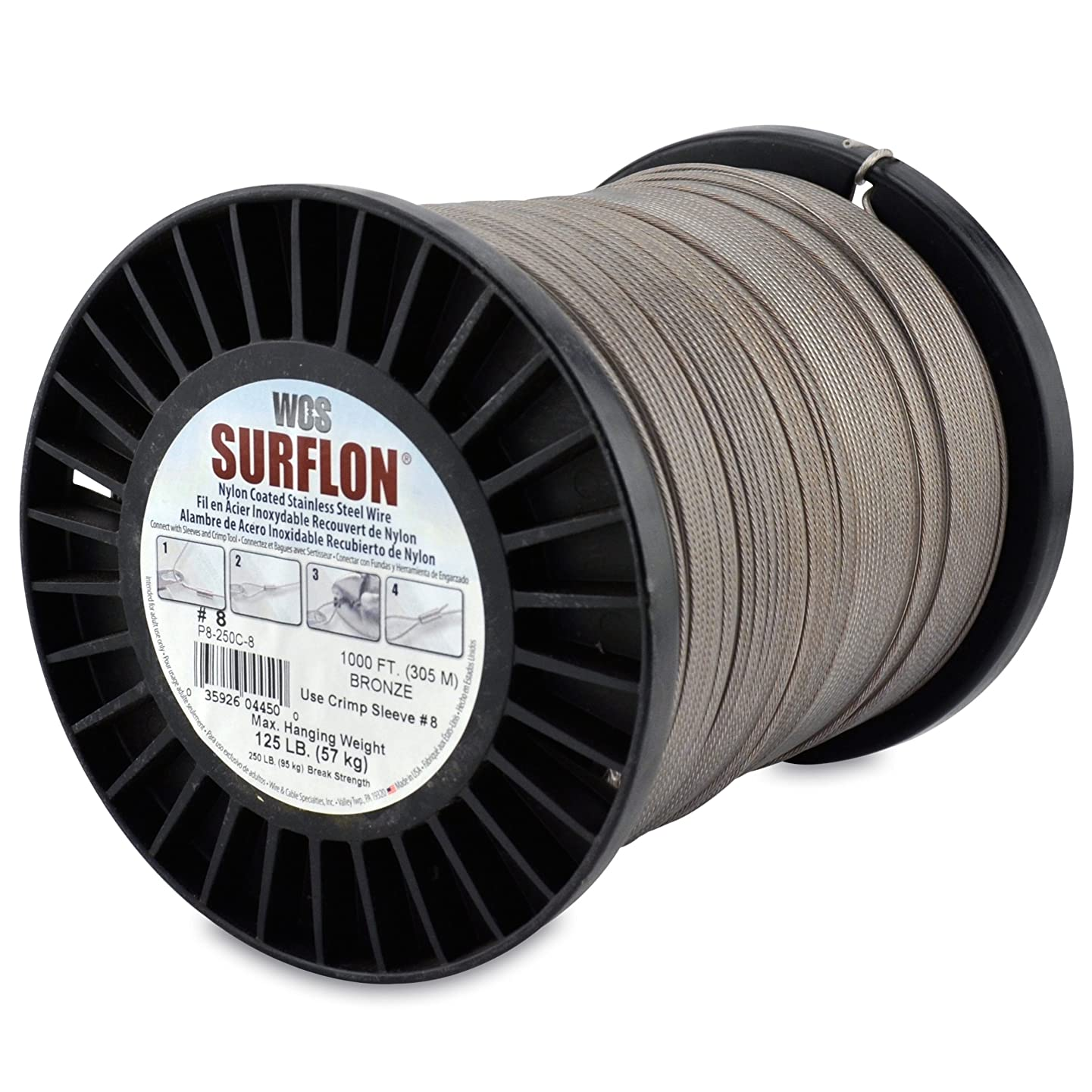 Surflon Size 8-125-Pound Break 1000-Feet Crimping Picture Wire Nylon Coated Stainless Steel Bronze