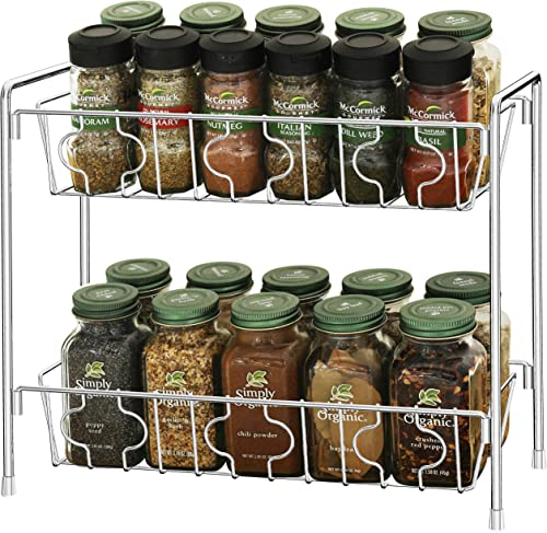 new arrival SimpleHouseware 2-Tier Spice Rack Kitchen Organizer online sale sale Countertop Shelf, Chrome online sale