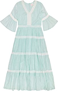 Masala Baby womens Mara Dress Metallic Stripe Aqua Casual Dress