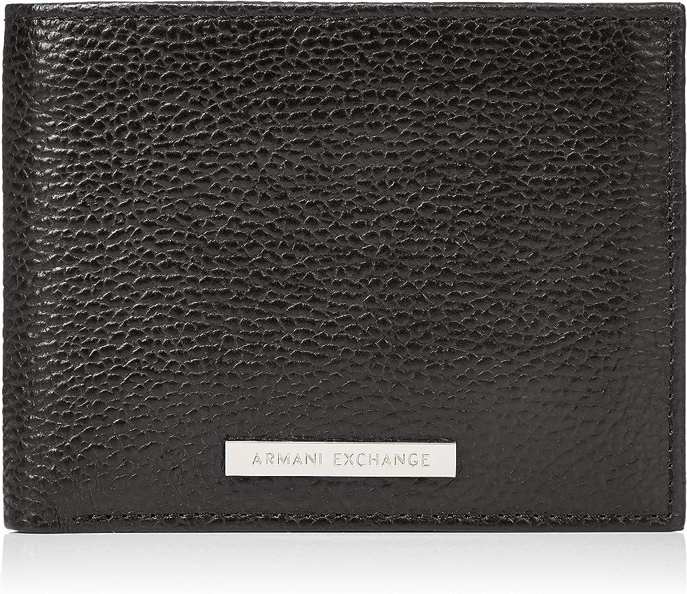 Armani exchange, portafoglio, porta carte di credito, da uomo, 100% pelle, nero 958058CC206