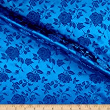 Ben Textiles Rose Satin Jaquard Fabric, Royal, Fabric by the yard