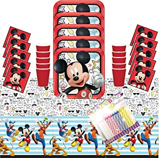 Disney Mickey On The Go Party Plates Napkins Cups and Table Cover Serves 16 with Birthday
