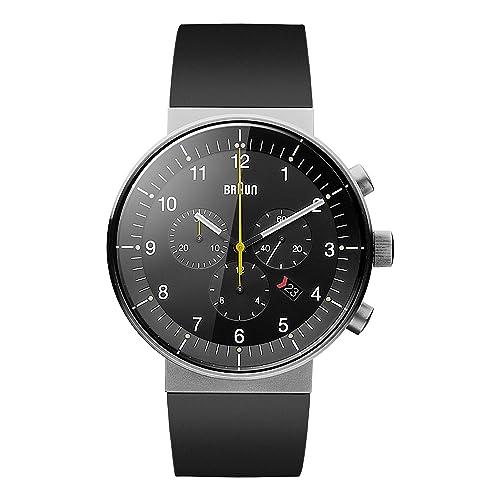 Braun Mens BN0095BKSLBKG Prestige Analog Display Swiss Quartz Black Watch