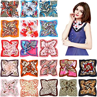 20 Pieces Women Satin Square Scarf Silk Feeling Hair Scarf Mixed Color Small Square Scarf Neck Head Scarf for Women Girls ...