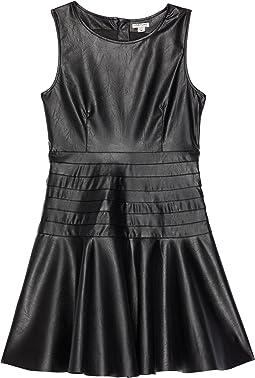 Faux Leather Flounce Dress (Big Kids)