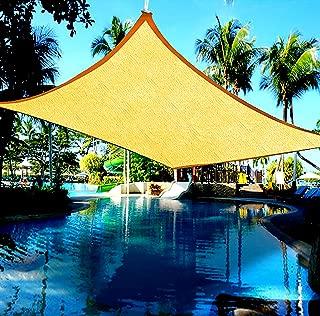 Cindynamo 12' X 16' Sun Shade Sail Canopy Rectangular Light Sand Color 185 GSM Patio Sun Shade Block 95% Harmful Uv for Outdoor, Backyards Activities, Unique Heavy Duty Knitted Construction