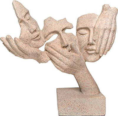 TIED RIBBONS Human Sculpture Figurine Modern Abstract Design Art for Home Living Room Decorative Display - Human Face Statue Showpiece (Grey, 26.5 X 8.5 X 11 cm, L X B X H)