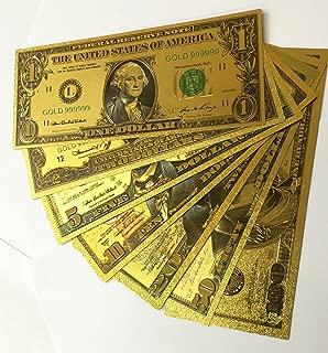 Gold Bank Note Set of 7 24kt Gold Foil .999 $1, $2, $5, $10, $20, $50 and $100 in Decorative Envelope