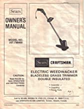 Sears Craftsman Electric Weedwacker, Bladeless Grass Trimmer, Owner's Manual Instructions, Model 257.798400