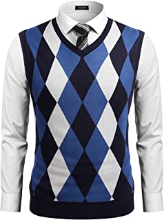 COOFANDY Men's Casual Slim Fit V-Neck Rhombus Knitwear Sleeveless Pullover Sweater Vest