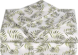 Swift Home Caribbean Joe Ultra-Soft Double Brushed 3-Piece Microfiber Sheet Set. Beautiful Tropical Patterns, and Vibrant Solid Colors, Luxury, All-Season Bed Sheet Set - Palm Leaves, Twin