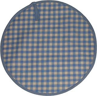 Sterck Cotton Round Checked Gingham Ziro Cook Aga Pads in Blue RNDPADZBL