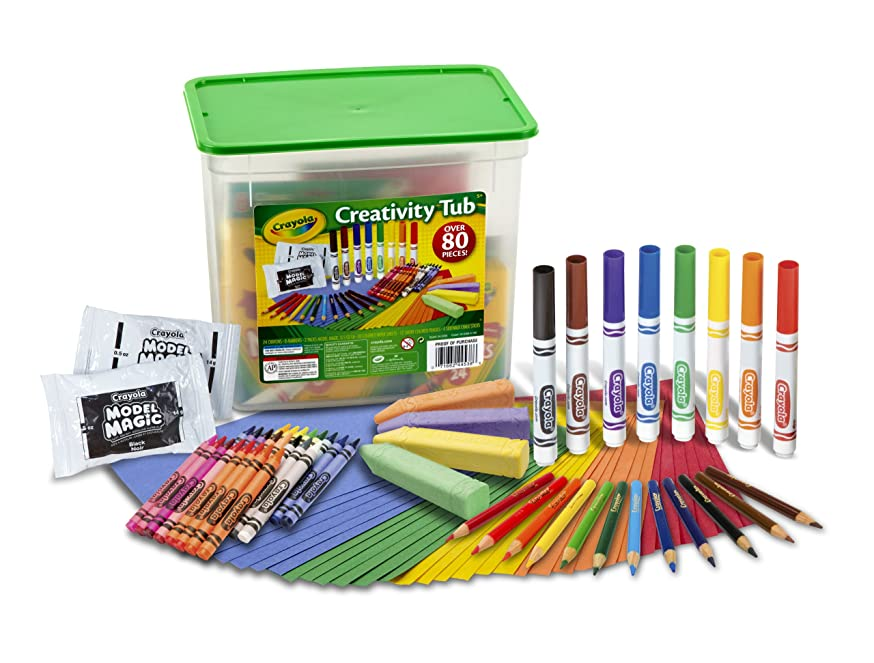 Crayola Creativity Tub, Over 80 Art Tools, Crayons, Markers, Colored Pencils Construction Paper and More, Makes a Great Gift