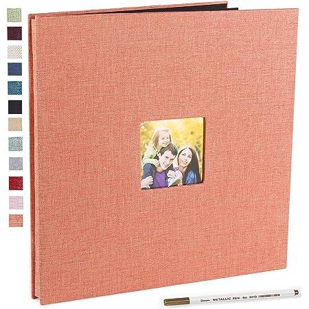 Vienrose Grand Album Photo Adhésif Scrapbooking 40 Pages Magnétiques Double Face Lin Relié livre photo DIY Longueur 28 x Largeur 27 cm avec un Stylo Métallique