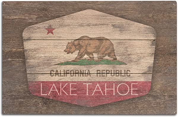 Lantern Press Lake Tahoe California Rustic California State Flag Contour 101508 10x15 Wood Wall Sign Wall Decor Ready To Hang