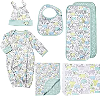 Caravan Homecoming Baby Bundle (6 Pieces) 30 in x 40 in Receiving Blanket, Bib, Burp Cloth, Cap, Gown and Gift Bag, Newborn Essentials, 100% Combed Cotton