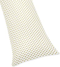 Sweet Jojo Designs Gold Polka Dot Full Length Double Zippered Body Pillow Case Cover for Amelia Collection