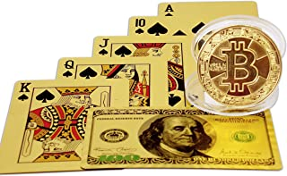 Big Texas Mall 24k Gold Original Ben Franklin $100 Bill Poker Playing Cards w/Gold Plated Collectible Bitcoin Coin for Place Setting Cards Real Gold Professional Quality Gold Foil Plated Prestige Set