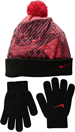 Nike Kids - Graphic Pom Beanie & Gloves Set (Big Kids)
