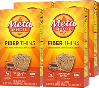 Metamucil Fiber Thins, Psyllium Husk Fiber Supplement, Digestive Health Support and Satisfy Hunger, Cinnamon Spice Flavore...