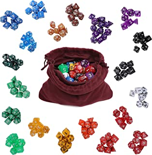 IQ Toys Polyhedral Dice 20 Colors Set for Dungeons and Dragons DND RPG MTG Table Games, 140 Pieces - 7 Pc Sets in 20 Colors, Comes in a Durable Felt Pouch