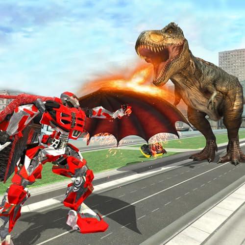 Wilder Dinosaurier-Roboter gegen fliegenden Drachen: Dino Games