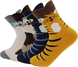 AnVei-Nao Womens Girls Cartoon Cute Cat Pattern Cotton Soft Crew Socks 4 Pairs