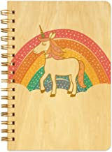 product image for Night Owl Paper Goods Prancing Unicorn Pocket-Size Notebook with Real Wood Covers