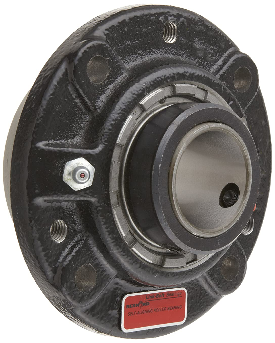 Link-Belt FCB22424H Spherical Roller Bearing Piloted Flange Unit, 4 Bolt Holes, Relubricatable, Non-Expansion, Cast Iron, Spring Locking Collar, Inch, 1-1/2