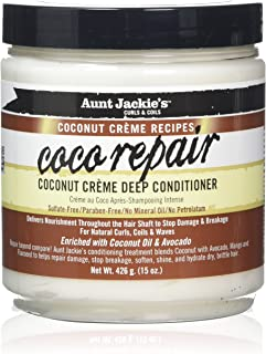 Aunt Jackie's Coconut Crème Recipes Coco Repair, Coconut Crème Deep Conditioner, Repair and Restores Damaged Hair, 15 Ounce Jar